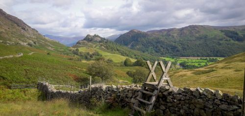 Landscape Canvas Framed Wall Art - Walking at The Lake District